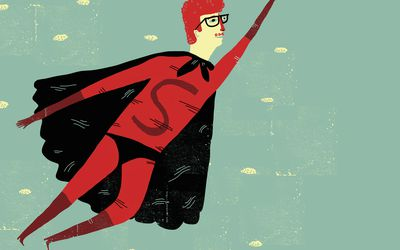 illustration of a hero in a cape