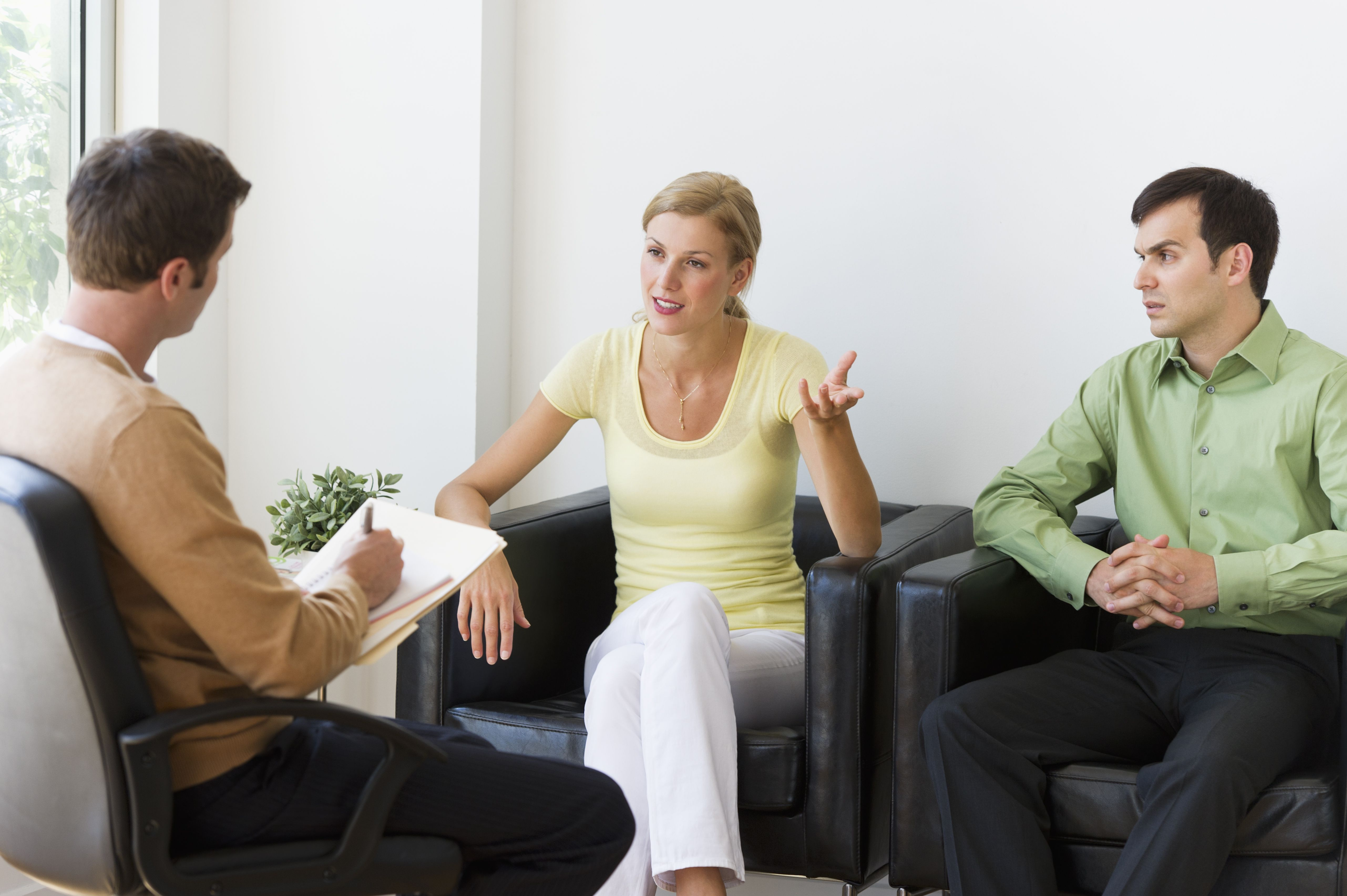 Couple discussing issues during therapy