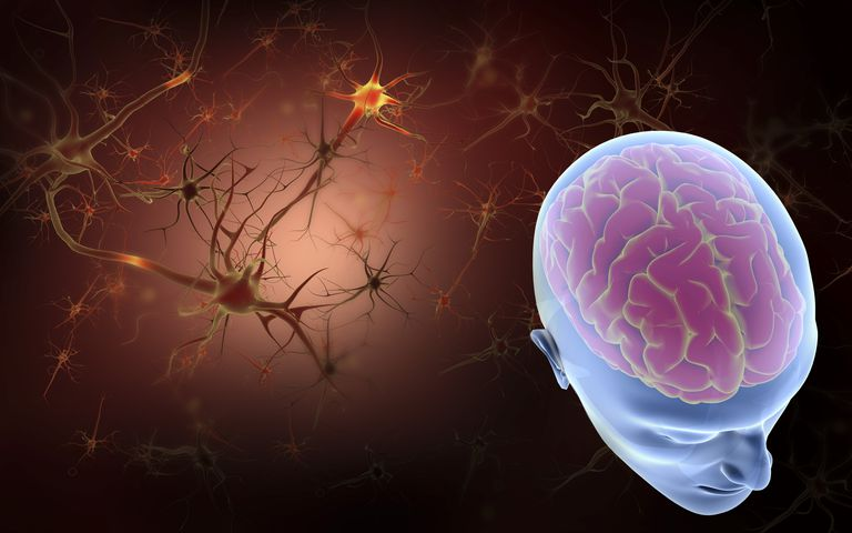 conceptual image of brain with neurons in background