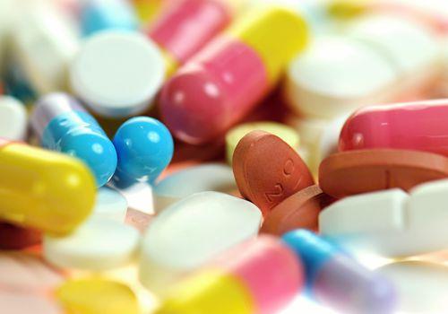 A variety of pills, close-up