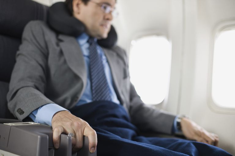 Man frightened while seated on airplane