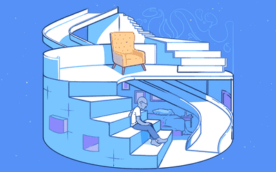 Conceptual scene of person sitting on stairs within a maze-like scene