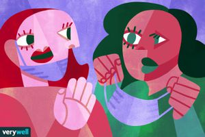 cubism inspired illustration of people taking off their masks