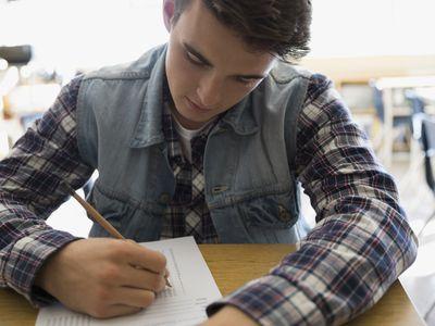 Teenager taking test