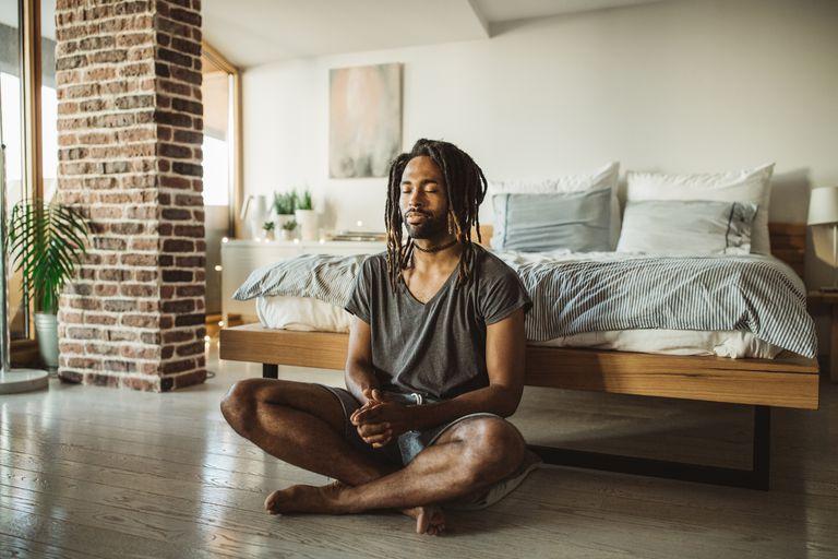 Man sitting and meditating