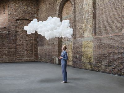 woman with thought cloud