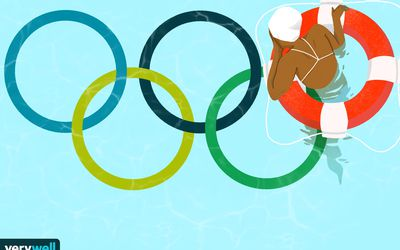 drawing of olympic swimmer amidst olympic rings