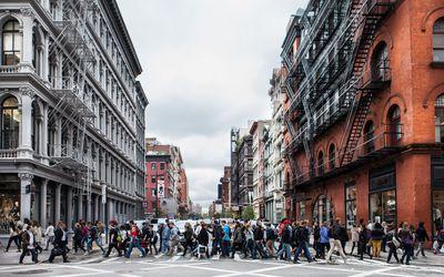 Crowd walking on a city street