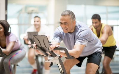 Group of adults at spin class