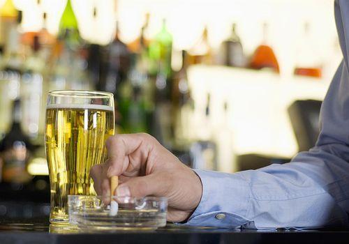 Smoking while drinking beer