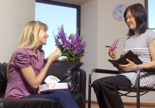 A social worker in a session with her client.