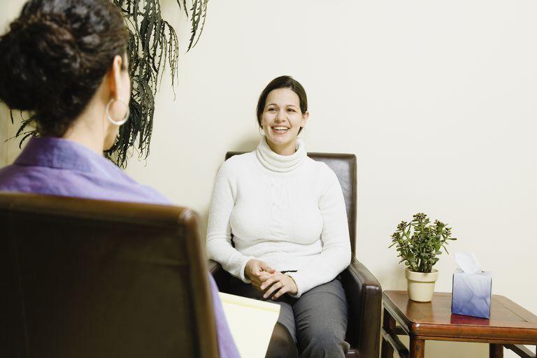 Woman talking to therapist