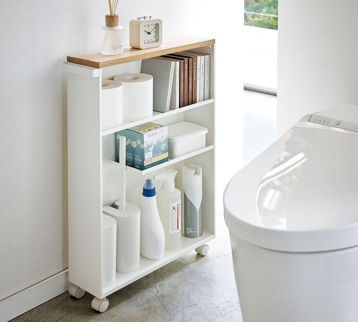 Yamazaki Slim Rolling Bathroom Cart with Handle
