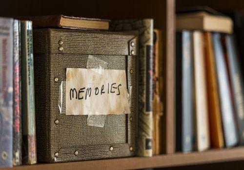 Memories box in book shelf