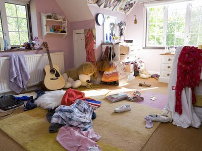 young person's messy room