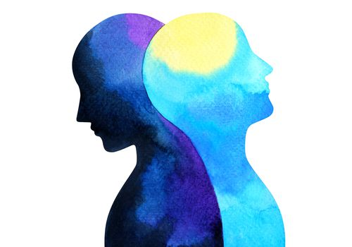 Two silhouettes of different shades of blue look in opposite directions