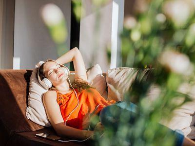 Woman relaxing in sunlight