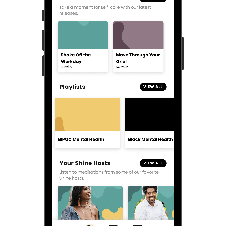 Shine mindfulness self-care app interface