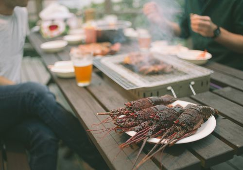 Seafood BBQ with Japanese spiny lobsters