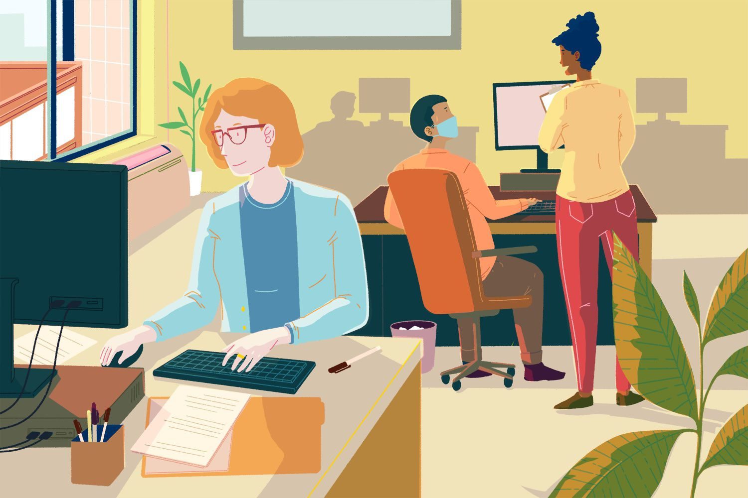 drawing of people in an office working at their computers