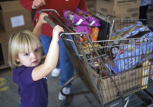 Child at food shelf