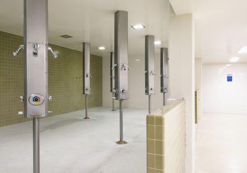 Empty locker room showers