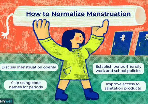 Illustration of woman heading to the bathroom, openly holding a large tampon above their head