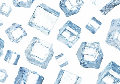Ice cube falling on the sky, adding some motion blur on ice cubes