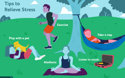 tips to relieve stress text over park scene with people exercising, taking a nap, meditating, listening to music and playing with a pet
