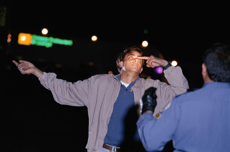 Man undergoing sobriety tests roadside