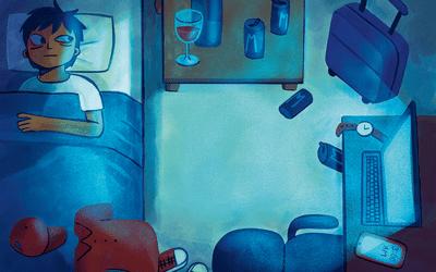 Person lying awake in bed, struggling to fall asleep