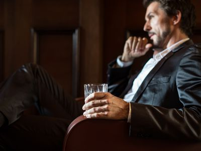 Model poses as drinker thinking about change