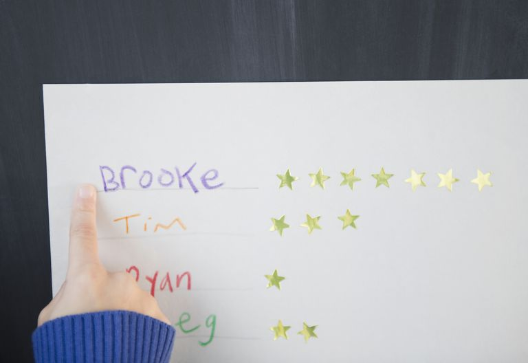 young girl's finger pointing at rewards chart with silver star stickers next to her name
