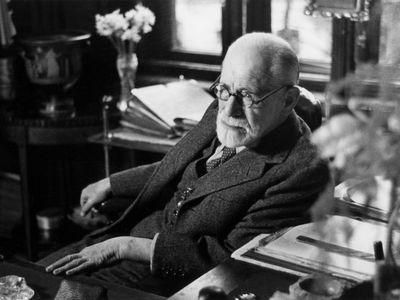 Sigmund Freud in his office.