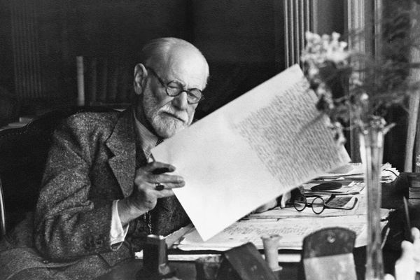 Sigmund Freud reading at his desk