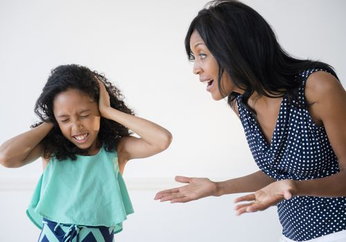 Daughter ignoring yelling mother