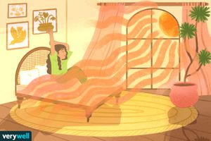 drawing of girl waking up in sunny bedroom