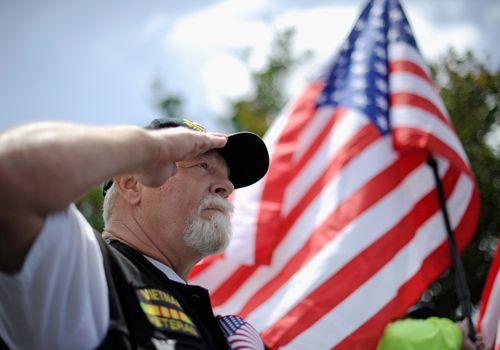 Vietnam vet saluting the flag