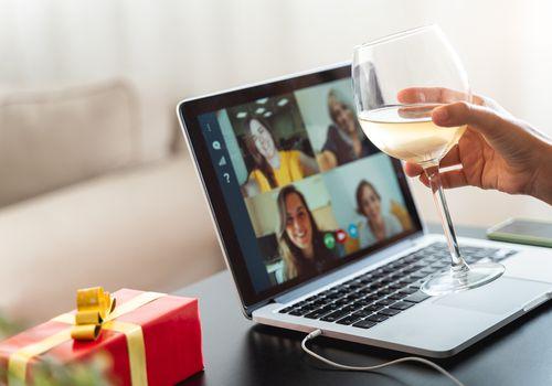 Women having a virtual party