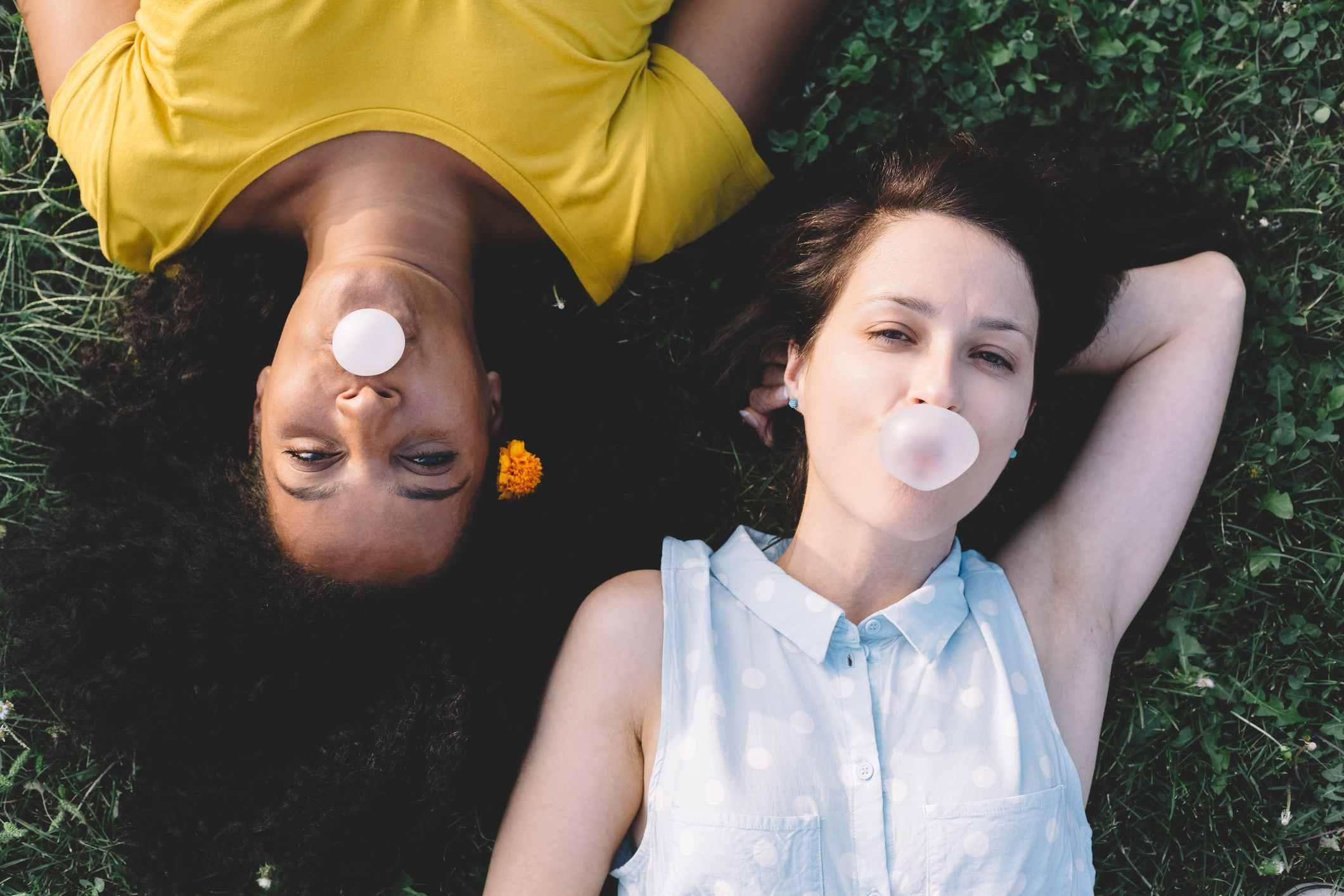 women chewing gum