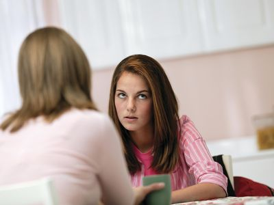 Teenage girl talking to friend