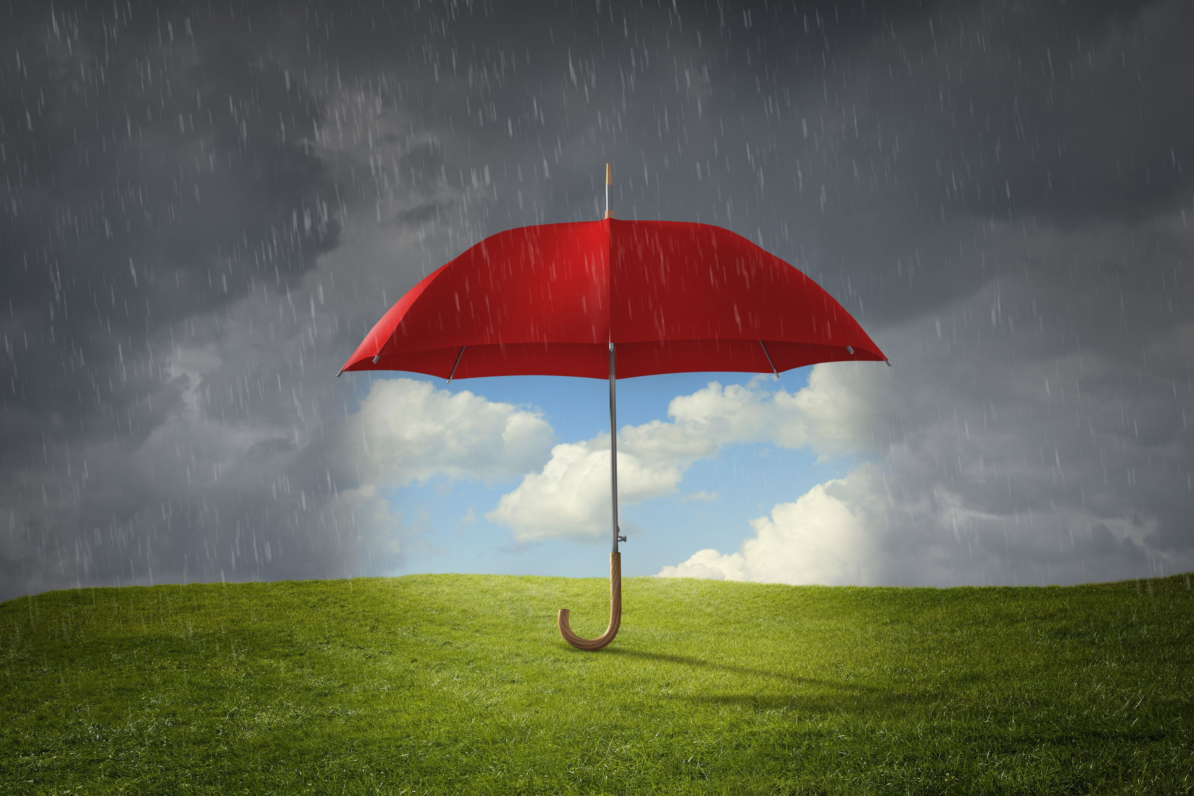 Illustration of an umbrella being rained on with a sunny patch underneith