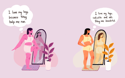 Woman standing in front of the mirror, observing their appearance in two different instances (body positivity and body neutrality).