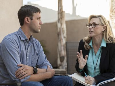Man talking with therapist specializing in eating disorder