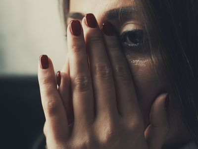 Woman with uncontrollable crying.