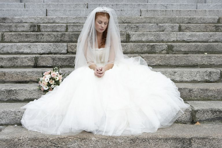 Bride worried at her wedding