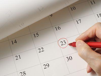 Marking missed period on calendar