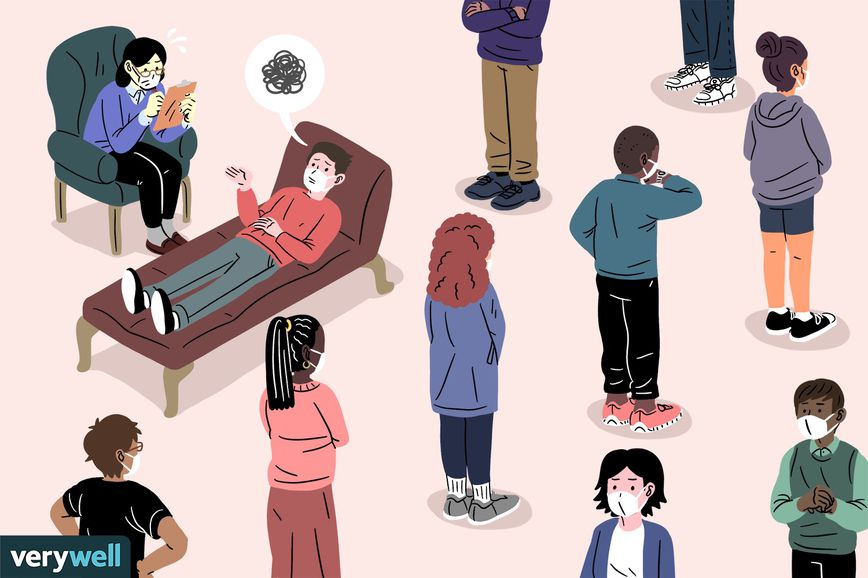 Drawing of people waiting in line to see a therapist