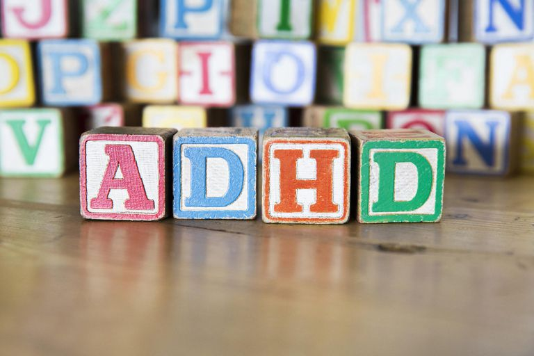 Wooden letter blocks spelling out ADHD