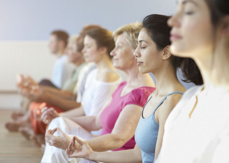 Line of individuals in relaxation group